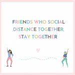 Graphics of two friends social distancing