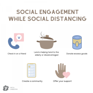 Ideas to promote social engagement while social distancing: check in on a friend; lend a helping hand to the elderly or disadvantaged; donate excess goods; create a community; offer your support.