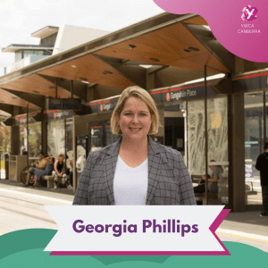 a photo of georgia phillips at a tram stop in Canberra